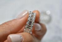 3 carat baguette halo diamond eternity engagement band ring 14k white gold over