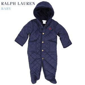 Polo Ralph Lauren Baby Quilted Bunting Bodysuit Snowsuit - Navy - Size 6m