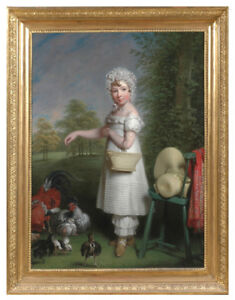 """Antoine Ansiaux """"Portrait of a high-aristocratic girl"""", monumental oil painting"""