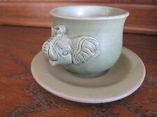 Balinese Green Ceramic Elephant Teacup and Saucer