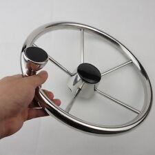 13-1/2'' Boat Steering Wheel Stainless Steel Mirror Polish 5 Spoke With Knob
