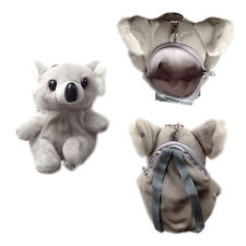 "Plush Keychain Keyring Zippered Coin Pouch Bag Zoo Animal Koala Gray 6"" NEW"