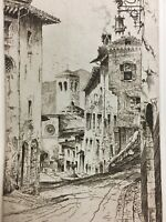 In The City of Saint Francis Assisi Italy Vintage Print Street Scene 1932