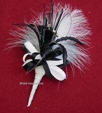 NEW CORSAGE BLACK & WHITE DIAMANTE LILY/FEATHER  BRIDE BUTTONHOLE WEDDING FLOWER