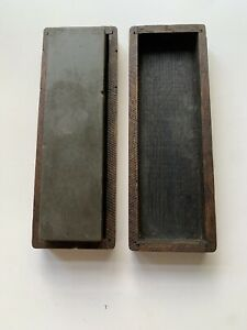 Vintage 19th Century Sharpening Stone In Nice Wood Case