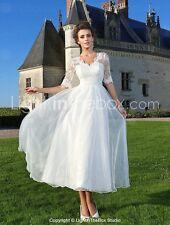 Vtg 50s Inspired NWT Organza Satin Tea Chapel Wedding Dress Plus Sz 18W-Sash bow