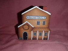 Primitive, Crafty Wooden Cut Out Quilter's Corner House, Hand Painted
