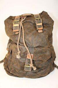 Bed Stu Mens Large Brown Distressed Canvas Leather Backpack Carrier Bag