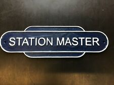 More details for blue station master train plaque cast iron wall sign for enthusiasts & man cave