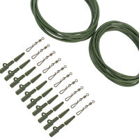 GREEN 32PC CARP FISHING END TACKLE QUICK CHANGE SWIVELS CARP WEIGHT LEAD CLIPS
