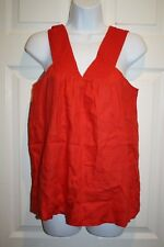 J. Crew Womens Shirt Top Tank Size 0 Red Eyelet Lace Lined 100% Linen NWT NEW