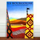 """Vintage Train Travel Poster Art ~ CANVAS PRINT 8x12"""" ~ La Bourgogne"""