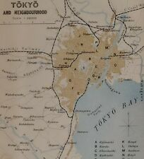 1907 JAPAN JAPANESE TOURIST MAP ~ TOKYO BAY UENO AKASAKA IMPERIAL PALACE HONJO