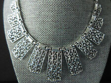 Vintage Sarah Coventry Statement Necklace Silver Tone Filigree Design 16 inch