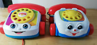 Pair of 2 x Retro Fisher Price Pull Along Toy Telephone Cars