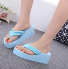 Womens Clip Toe Thong Platform Slingbacks Slippers Wedge High Heel Shoes Beach
