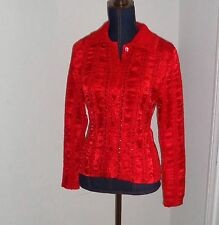ALBERTO MAKALI Red Crinkled Studded Button Down Dressy Shirt Top Size M