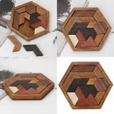 Wooden IQ Game Jigsaw Intelligent Tangram Teaser Puzzle Kid Baby Educational Toy
