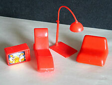 Arco Red Plastic Doll Furniture Lamp Lounger Tv Seat 4 Piece Free Sh
