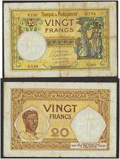 Madagascar currency banknote 20 francs banknote Banque de madagascar