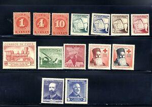 1898, 1954-58 CHILE 14 STAMP LOT🛩️ MLH OG