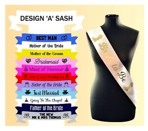 Custom Made Personalised Wedding Satin Sash Sashes Printed Any Name Role Text