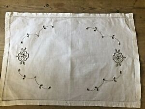 Vintage White Linen Cotton Traycloth with ecru embroidery 57 x 39cm