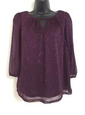 NEW EX DP: Purple Sparkly Shimmer Party Occasion Keyhole Blouse Top Size 10-18