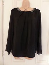 DKNYC size S black silky top sheer long sleeves beaded neckline, pleated front