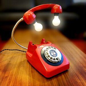Rare upcycled Retro Vintage 1960s GPO Rotary Phone Lamp Red & Black
