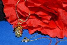 VINTAGE GOLD TONE DIPPED REAL MINI PINECONE PENDANT NECKLACE 24 INCHES.