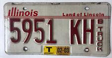 2003 Illinois Truck License Plate 5951 KH Red White