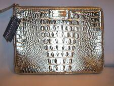 Rare HTF Brahmin NWT Metallic Rio Gold Metallic croco Clutch / Tablet Handbag