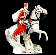 PORCELLANA DI MEISSEN figura di un Soldato USSARO a Cavallo