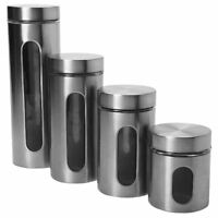 New Canister Set 4pc Window Tea Coffee Sugar Stainless Steel Glass Cannister Jar