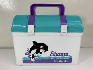 Vintage 90s Shamu Killer Whale Sea World Lunchbox Set Souvenir Drink Container