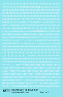 K4 HO Decals White 1/8 Inch Round Modern Gothic Bold Letter Number Alphabet Set