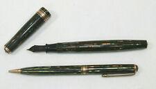 1941 Parker Duofold Senior Fountain Pen & Pencil Set Striped Green Blue Diamond