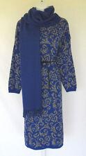VINTAGE 1980s BENETTON DRESS & SCARF SIZE 10 U.S. 44 ITALY BLUE BLACK GRAY