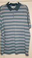Mens Nike Short Sleeve Blue Striped Golf Shirt Polo Size XXL 2XL Collared