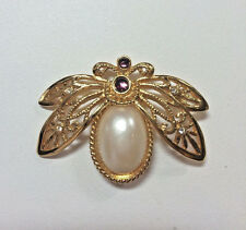 Avon Brooch Pin Insect Bee Faux Pearl Jelly Belly Vintage Flying Insect Costume