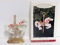Tobin Fraley Carousel horse hallmark ornament & stand #2 christmas 1993 QX550-2
