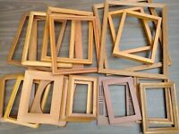 Vintage 19 Wood PICTURE FRAME Lot Recycle Arts Crafts Project Deco paint geo