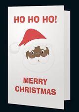 HO HO HO Black Santa Claus Christmas Greeting Cards (Pack of 5)