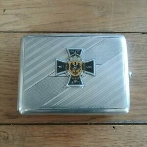 Very Rare WW1 German Army Solid Silver Cigarette Case marked 900