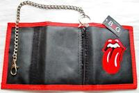 New Small Canvas security Mick Jagger chain trifold Tongue velcro wallet