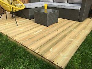 3.0m x 3.0m Tanalised Garden DIY Patio Decking Kit with Joists & fixing kit