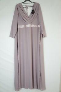tfnc Danielle Maxi Dress Abend Ball Hochzeits Kleid Langarm flieder Gr. 56 #P87