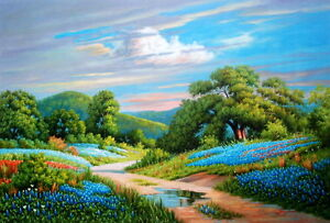 Landscape Texas Bluebonnets 100% Handmade Oil Painting on Canvas 24X36 Inch