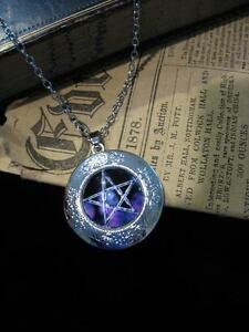 Pentacle LOCKET Necklace Pendant Gothic Purple Silver Vintage Fantasy New Wicca